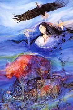 Helena Nelson-Reed Helena Nelson-Reed is an American art. Native American Artwork, Native American Women, Native American Artists, Native American Indians, Native Americans, Warwick Goble, Vladimir Kush, Josephine Wall, Thomas Kinkade