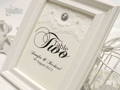 Framed vintage inspired table number from www.SparkleWeddings.co.uk