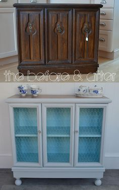70s cabinet to chicken-wire cottage cabinet! - colors