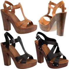 US 40.00 NEW Chunky Faux Wooden High Heel T-Strap Open Toe Strappy Platform Woman Sandal #TopModa #PlatformsWedges