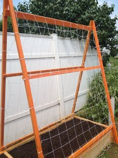 Vertical Gardening Ideas Happy House and Garden Social Site wooden A frame with string over raised bed Organic Gardening, Gardening Tips, Urban Gardening, Vertical Vegetable Gardens, Vegetable Gardening, Starting A Garden, Shade Perennials, Happy House, Small Space Gardening