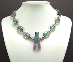 Magnificent Rainbow Fluorite & Freshwater Pearl Necklace by TheSilverBear, $115.00
