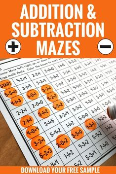 Looking for a fun way to practice addition and subtraction facts? Try these math mazes! Students will color in the true math facts along the path while watching out for the false facts. You can try one addition and one subtraction maze with this FREE down