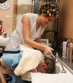 helping a friend Sleep In Hair Rollers, Wet Set, Roller Set, Curlers, Vintage Glamour, Vintage Hairstyles, Insta Makeup, Makeup Junkie, Blouse