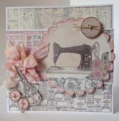 Card designed by Julie Hickey using Paper Couture Kit. 50th Birthday Cards, Birthday Cards For Women, Sewing Cards, Craftwork Cards, Shabby Chic Cards, Button Cards, Freebies, Card Making Inspiration, Pretty Cards