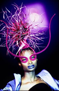 """PHILIP TREACY, (Millinery), """"I wish some nights lasted forever"""", pinned by Ton van der Veer Philip Treacy Hats, Race Day, Creative Makeup, Headpiece, Fantasy, Hair, Top Hats, Writing Resources, Fictional Characters"""