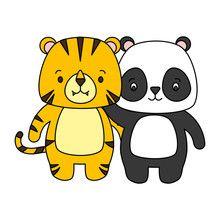 cute panda and tiger animal cartoon vector illustration , Pet Tiger, Photoshop, Cute Panda, Infographic Templates, Digital Illustration, Fantasy, Cartoon, Animals, Fictional Characters