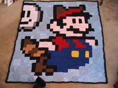 My Super Mario crochet granny square blanket Crochet Mario, 8 Bit Crochet, Crochet Game, Plaid Crochet, Pixel Crochet, Crochet Quilt, Crochet Videos, Crochet Granny, Crochet Batman