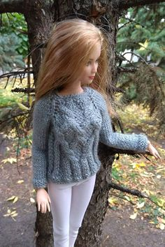 Barbie doll clothes. Hand-knitted gray sweater pullover &