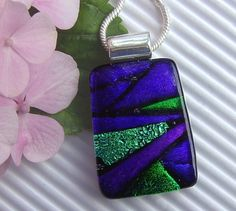 Glass Pendant Fused Glass Jewelry Dichroic by TremoughGlass, $26.00