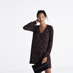 Madewell et Sézane® Silk Elly Shirtdress in Floral Print