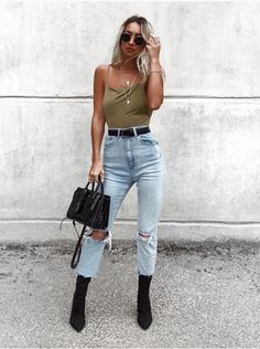 womens fashion, summer fashion, summer style, casual fashion, 2018, summer 2018, street style, distressed denim, olive tank top, black boots