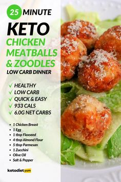 Chicken Meatballs with Zoodles Keto Dinner Recipe