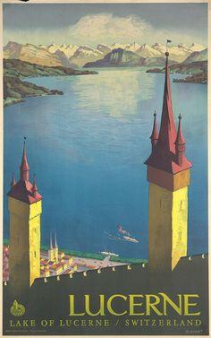 Otto Landolt (Swiss, 1889-1951): Lucerne, Offset ca. 1930