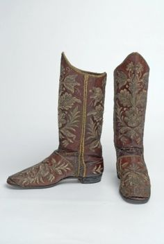 Embroidered leather boots, Hungarian, C. 17th Century Fashion, 18th Century, Historical Costume, Historical Clothing, Vintage Shoes, Vintage Outfits, Mother Courage, Victorian Shoes, Pirate Woman