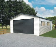 Double garage | Versatile Garage | White Garage | Grey Door Handyman Projects, Grey Doors, Double Garage, Garage Doors, Shed, Things To Come, Outdoor Structures, Building, Places