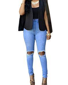 Donna Ginocchio Strappato Sexy Skinny Jeans Delle Donne Pantaloni A Vita  Alta Legging 16d881a82776d