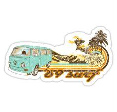 'Volkswagen Kombi Tee shirt - 69 Surf' Sticker by KombiNation Surfboard Stickers, Surf Stickers, Volkswagen, Surf Shirt, Beginning Of School, Tee Shirts, Tees, Classic T Shirts, Van