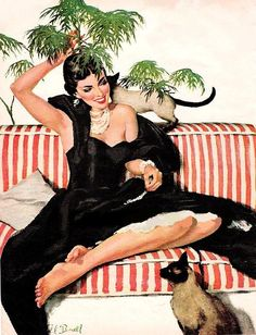 """Illustration by Al Buell (American, 1910-1996) from the August, 1953 issue of """"Today's Woman"""" magazine"""