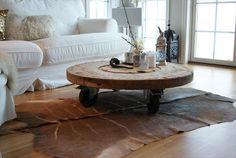 recycled cable drum coffee table.....wheels