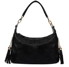 6326eeac06a6b YALUXE Womens Spring Collection Double Tassel Leather Small Size Mini  Shoulder Bag Black    More
