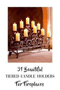 Listicle on 31 Best Tiered Candle Holders For In A fireplace. Fireplace Candelabra, Fireplace Candle Holder, Candle Holder Decor, Candle Sconces, Diy Candles, Wall Decor, Room Decor, Wall Lights, Dandy