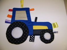 Tractor Crinkle baby Taggie Toy Patchwork Ford or by civilwarlady, $19.99