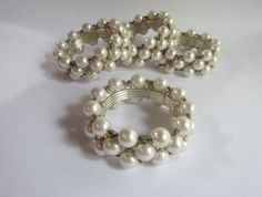 Pearl Napkin Rings Set of 4 - Silver and Pearl - Formal Setting - Bridal - Anniversary - Special Event
