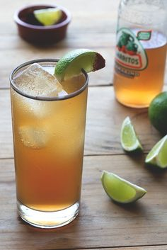 Ancho y Tamarindo: Ancho Reyes Ancho Chile Liqueur, Lime Juice, Tamarindo Soda, Lime Wedge, Ancho Chile Power.
