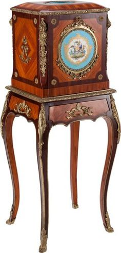 Furniture : French, A Louis XV-Style Mahogany, Kingwood, Porcelain and Gilt…