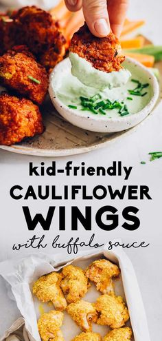 These easy and healthy vegan buffalo cauliflower wings are the perfect meatless appetizer! A true hit at any picnic or party, they are a ki. Vegan Finger Foods, Healthy Vegan Snacks, Vegan Appetizers, Appetizer Recipes, Picnic Finger Foods, Healthy Kids Party Food, Vegetarian Finger Food, Finger Foods For Kids, Vegetarian Sandwiches