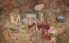 Eland antelopes, buffalos and humans, Republic of South Africa, Harrismith, Balmoral 8,000-2,000 BCE. Watercolour by Maria Weyersberg, 1929. Courtesy Frobenius-Institut Frankfurt am Main | @Aeon.