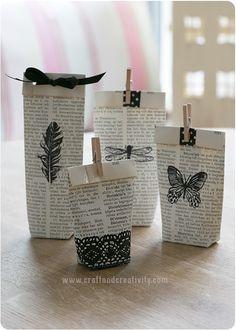 Old book turned into gift bags - by Craft & Creativity. Transformando hojas de periódico o de libro... Podríamos variar los colores de los adornos e incluso podría hacerse con folios de deshecho escritos a mano con algún fragmento de poemas.