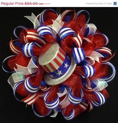 NOW ON SALE Rwb Memorial or Labor Day Wreath, 4th of July, Veterans Day, Rwb, Poly Mesh Wreath (781)