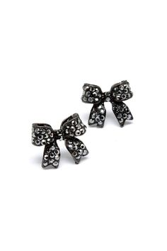 Crystal Bow Earrings in Hematite