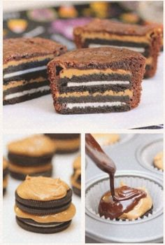 preheat oven to 350 line, 12 muffin cups with paper liners ,prepare brownie mix, put 1 tsp peanut butter on top of 2 oreos, stack ,and spoon 2 table spoons of brownie mix onto oreos. bake 18-20 mins. I'm so trying this!