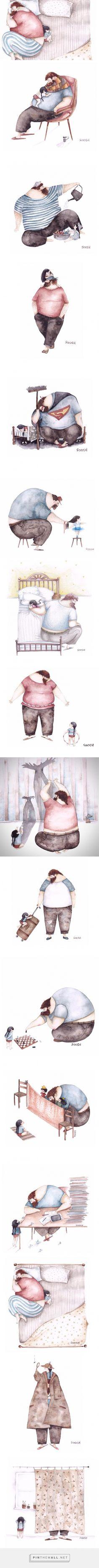 15 張感人肺腑的插畫,以溫柔細膩畫風訴盡〈父女之情的無限牽絆〉 | FLiPER - created via https://pinthemall.net