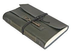 Large Faux Leather Journal with Heart Key Bookmark  by boundbyhand, $39.00
