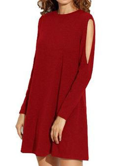 12.38 Red Plain Cut Out Round Neck Mini Dress online with cheap prices and  discover fashion 9e80d9621