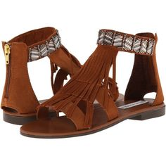 Steve Madden Giaani Women's Sandals, Brown ($73) ❤ liked on Polyvore featuring shoes, sandals, brown, steve madden sandals, fringe sandals, steve-madden shoes, beaded shoes and steve madden footwear