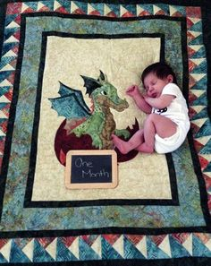 This adorable Dragon Quilt for a boy or girl makes a very special Baby Shower Gift or a great addition to your nursery or childs room! The