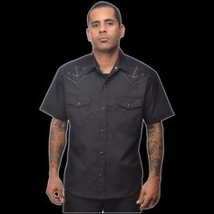 Anchored Western Button Up Western Shirt by Steady  - in black