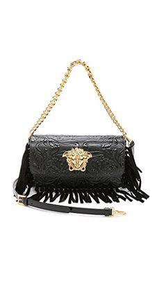 ce5b682bba6e Versace Leather Fringe Shoulder Bag Leather Fringe