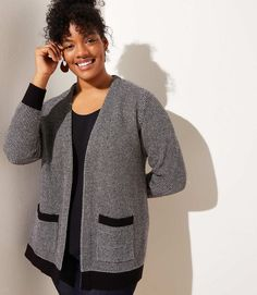 e9018c4a25 LOFT Plus Textured Pocket Open Cardigan - This textured knit cardigan has  the tailored fit of a smart jacket with all of the coziness of a sweater.