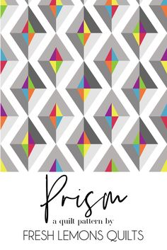 modern quilting designs The Prism quilt pattern is a simple yet bold paper pieced quilt pattern. The quilt uses a variety of shades of grey and a rainbow of bright colors. Modern Quilting Designs, Modern Quilt Patterns, Block Patterns, Quilt Designs, Traditional Quilt Patterns, Modern Quilt Blocks, History Of Quilting, Paper Pieced Quilt Patterns, Bright Quilts