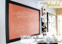 Chalkboard with Custom Colored Chalkboard Paint + DIY Framed Magnetic Memo Board
