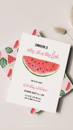 Tractor Birthday Invitations, Farm Party Invitations, Birthday Invitation Templates, Invitation Design, Invite, Watermelon Birthday Parties, Fruit Party, Summer Birthday, Girls Birthday Party Themes