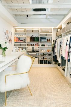 Fab walk-in closet/vanity. Practical without being ludicrously huge and OOTT. Fab walk-in closet/vanity. Practical without being ludicrously huge and OOTT. Walk In Closet Design, Closet Designs, Walk In Closet Small, Closet Bedroom, Closet Space, Closet Office, Bed In Closet, Master Closet, Ikea Closet