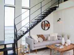 The gorgeous living room of the houseboat featured on Fixer Upper!