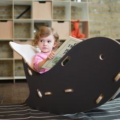See more - Click Now!  Adorable little girl reading in a Grey Whale Kids Rocking Chair by Sprout Kid Furniture --